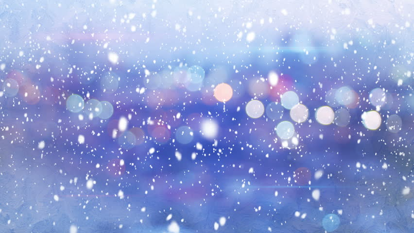 Defocused lights evening wintry city and snowfall. Seamless loop motion background. 4k (4096x2304)