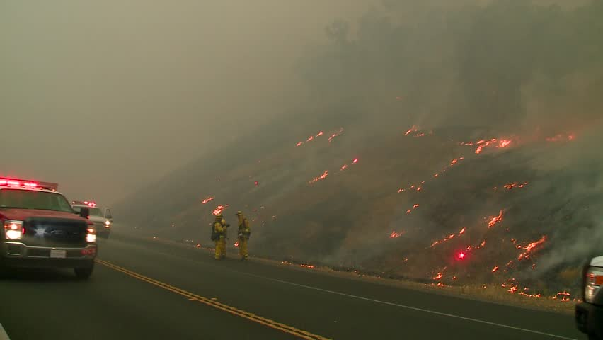 FOREST FIRES OF NORTHERN CALIFORNIA SUMMER 2015 WILD FIRES SMOKE FLAMES FIREFIGHTER CREWS BATTLE THE FIRES DURING THE DRY DROUGHT CONDITIONS HD HIGH DEFINITION STOCK VIDEO FOOTAGE CLIP 1920X1080 | Shutterstock HD Video #11914061