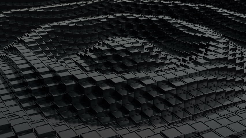 Black cubic surface in motion. Loop ready animation of cubes moving up and down.