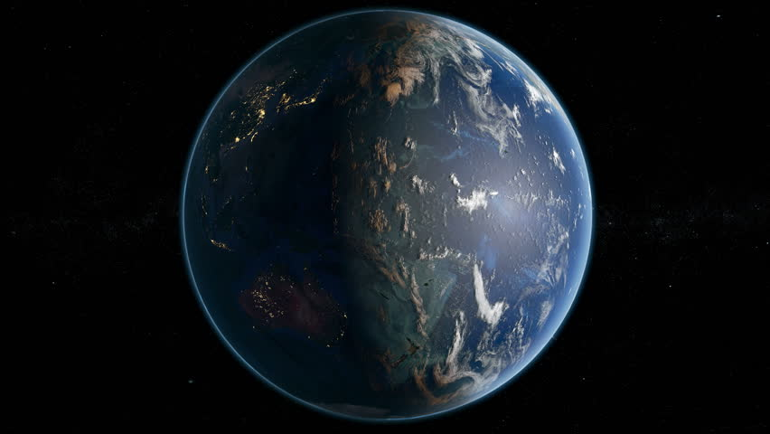 Earth Rotating Slowly Showing North And South America ...