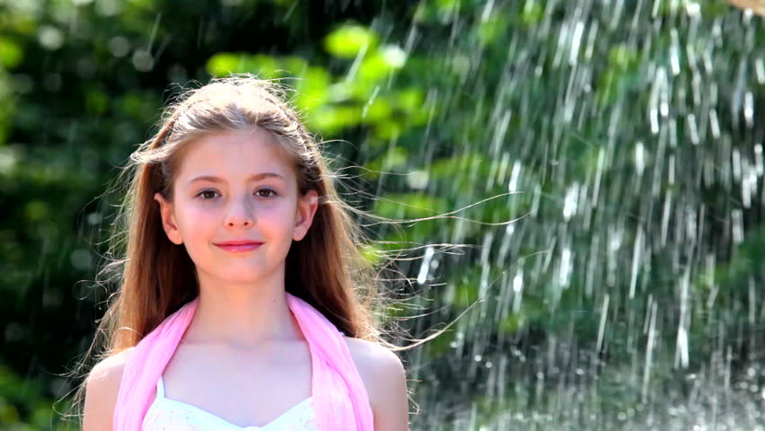 Little Girl And Water Drops Stock Footage Video 1201864 - Shutterstock-9539