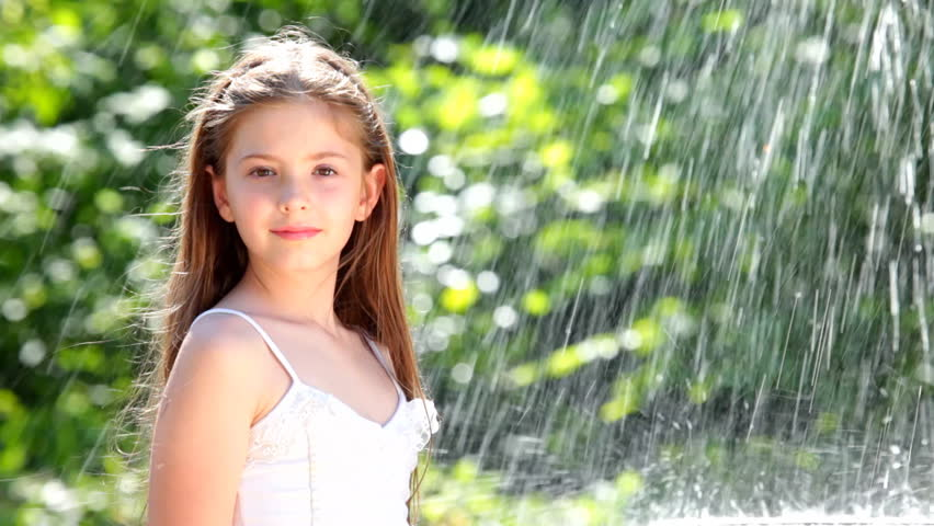 Little Girl And Water Drops Stock Footage Video 1201864 -2824