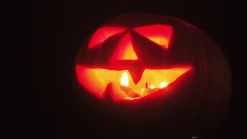 jack lantern carved pumpkin halloween background hd stock footage clip - Halloween Background Video