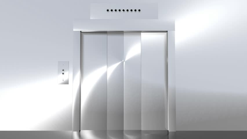 Computer generated animation of a modern elevator going up to green screen. High