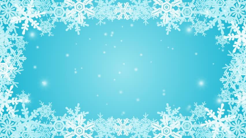 snow flakes make a border around a blue backdrop  this