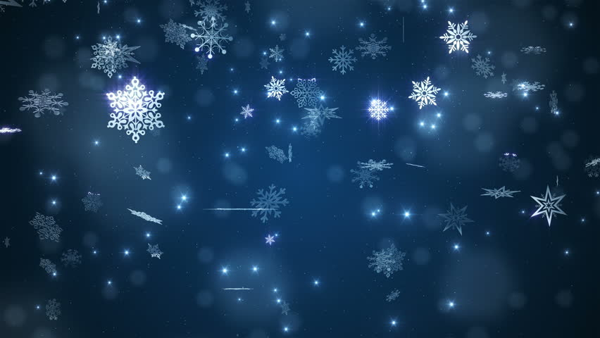 falling snow flakes animated winter background loop stock
