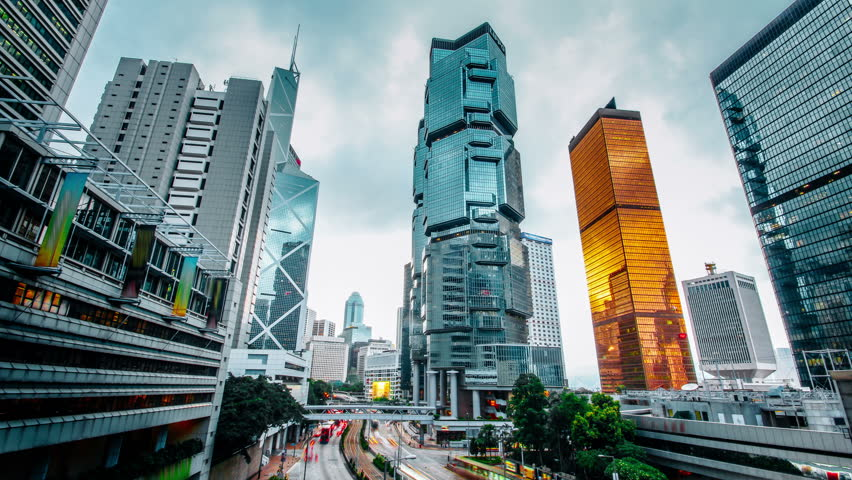 Sunset time-lapse of Hong Kong's Admiralty area depicting some of the city's landmarks. | Shutterstock HD Video #12618134