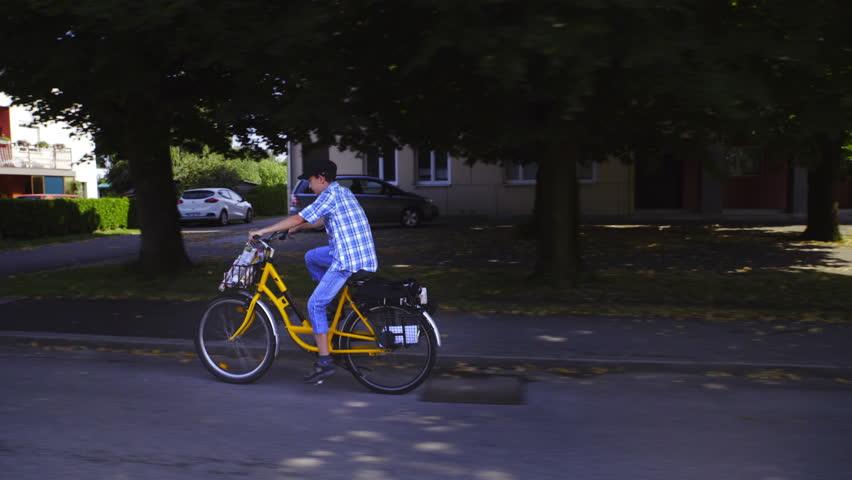 Boy Mailman On Bicycle Throwing Newspaper 4k Camera