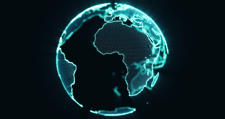 Pixel 3D planet Earth animation. Rotating globe, shining continents with accented edges. Abstract cyber animation with depth of field and glow. 4K, loop, UHD, ProRes  | Shutterstock HD Video #12795155