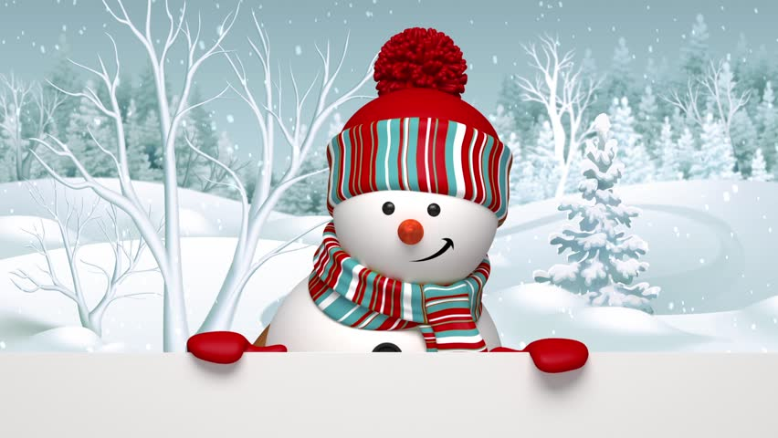 Snowman peeking out, animated greeting card, winter holiday background, Merry Christmas and a Happy New Year | Shutterstock HD Video #12801740
