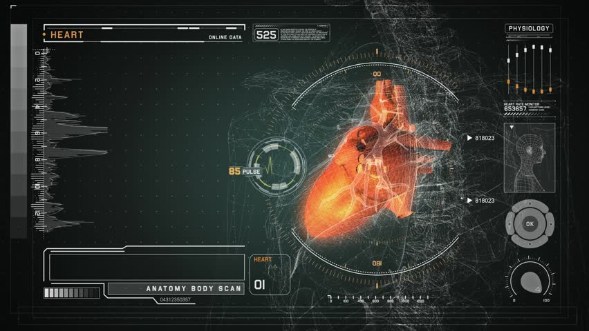 Heart Anatomy with Futuristic Interface and Wireframe Skeleton. Seamless loop.