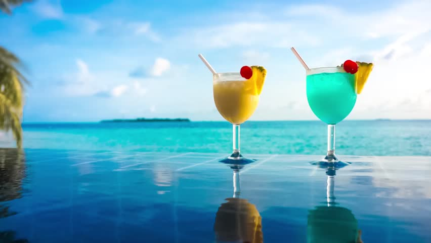 Cocktail Near The Swimming Pool On The Background Of The