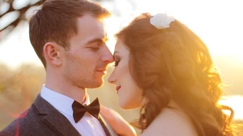 Passionate Newlyweds At Sunset Sensual Kisses And Hugs -7904
