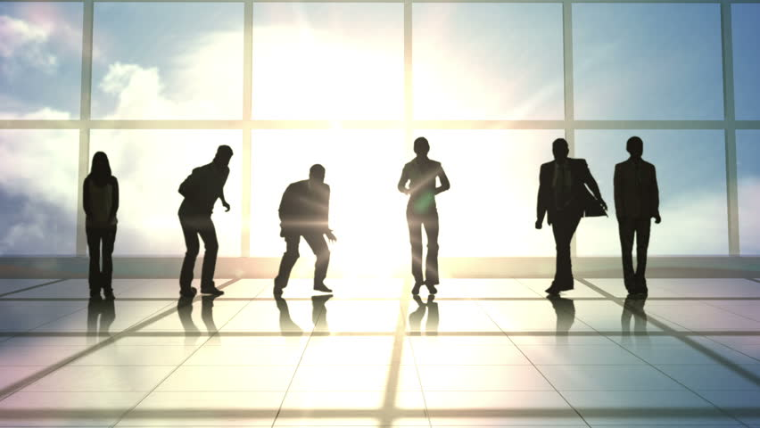 Series of jumping business people in slow motion against room with large windows | Shutterstock HD Video #13123181