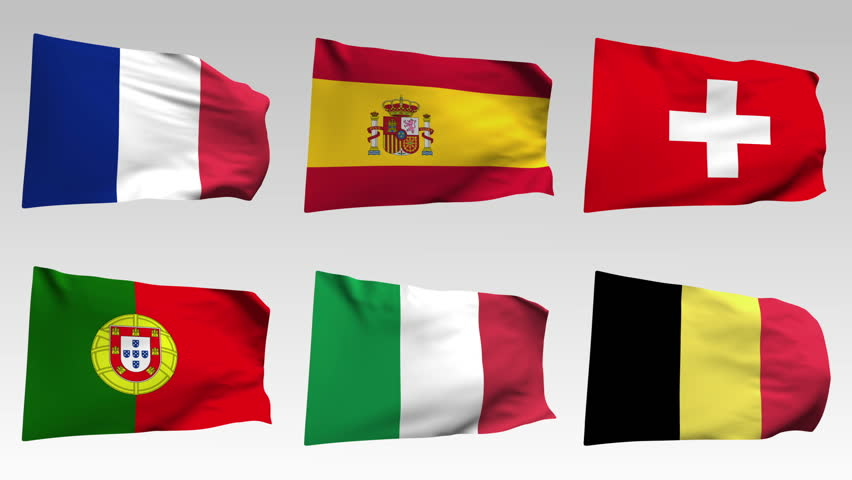 animated European flags collection with alpha channel, France, Spain, Swiss, Portugal, Italy, Belgium