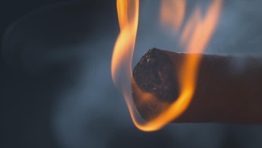 Cigar Glowing Ember macro slow motion shot on Phantom Flex 4k - Alpha Matte 1000 frames per second