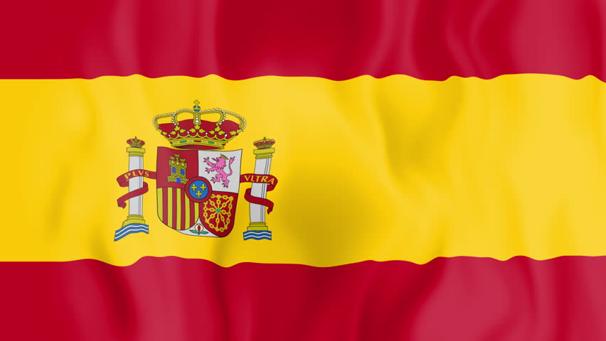 Animated flag of Spain in slow motion