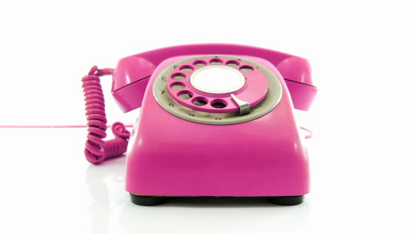 retro pink phone ringing