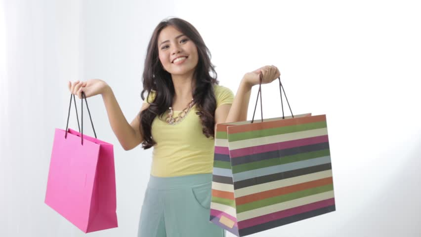 Happy Young Hispanic Woman With Shopping Bags Stock Footage Video ...