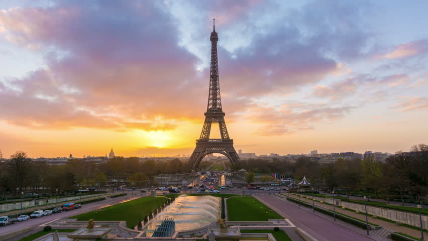 4K timelapse of Paris at sunrise with the Eiffel Tower at the Trocadero gardens | Shutterstock HD Video #13393559