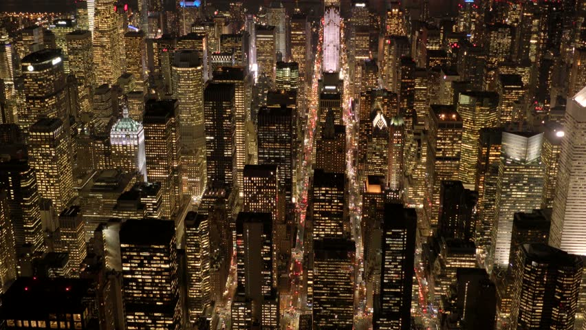 Aerial view of new york city skyline buildings at night. urban metropolis background. establishment shot of nyc.  | Shutterstock HD Video #13530986
