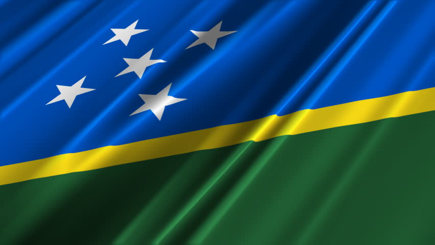 Waving flag. Illustration of flag of Solomon Islands