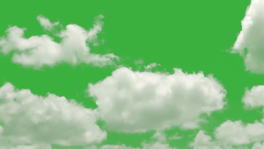 Cloud green screen, cloud isolated on green screen, ready of compositing