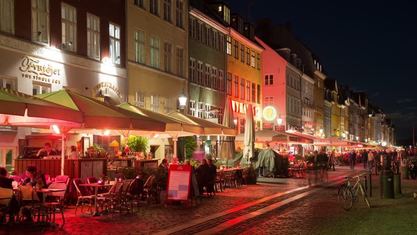 Time Lapse of Scenic Nyhavn District at Night - Copenhagen Denmark - Circa November 2015 | Shutterstock HD Video #13753709