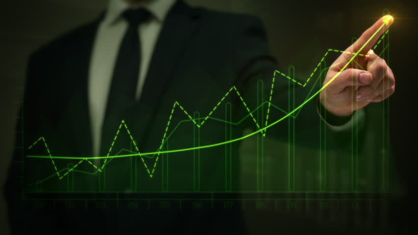 Businessman drawing an ascending financial chart. Touchscreen. Green and Red. 2 colors in 1 file. Businessman drawing a bright arrow showing increasing profits in a financial chart. Business success. | Shutterstock HD Video #13806770