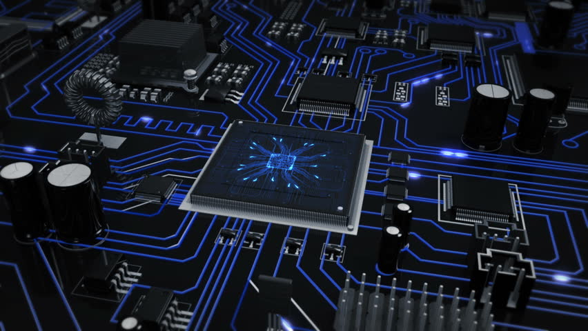 Flying over a futuristic circuit board ending on the CPU with blue moving electrons. Loopable from frame 588 to 851. Technology background. Grey-Blue.