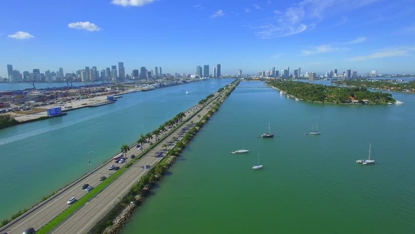 Aerial Miami stock video footage