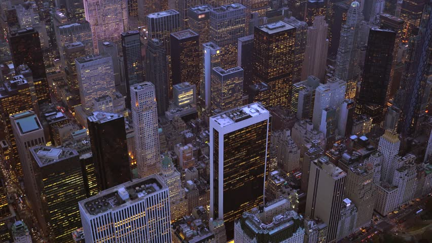 Breathtaking aerial establishment shot of city skyline. high-rise business buildings district | Shutterstock HD Video #13995428