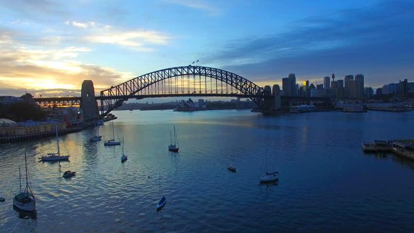 4k aerial footage at Sydney Harbour Bridge during sunrise at summer #14007284