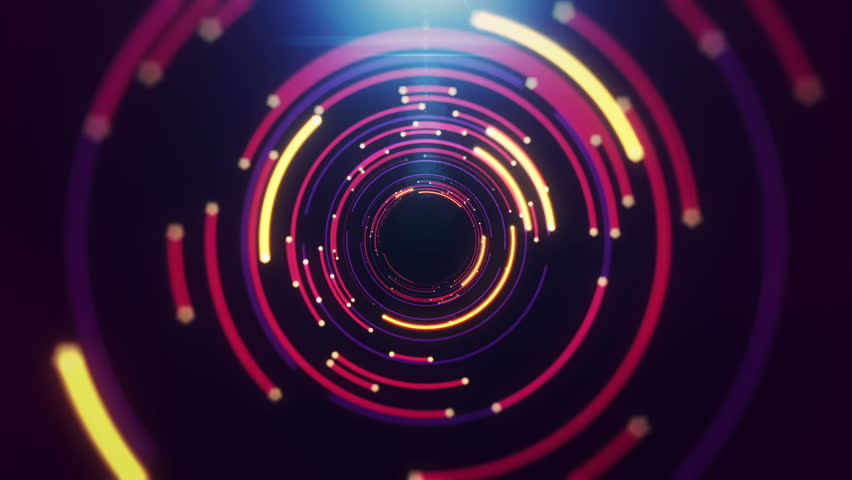 Abstract background with animation of flight in abstract futuristic tunnel with neon light. Animation of seamless loop.