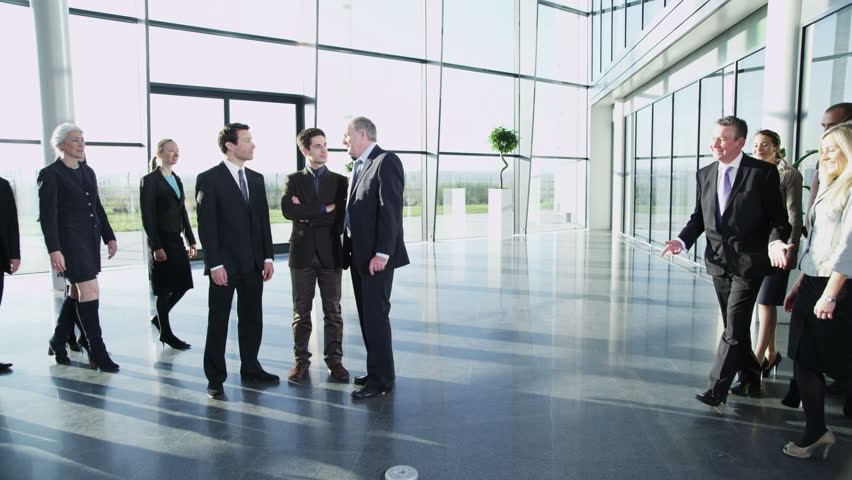 4k / Ultra HD version Portrait of a diverse group of business people in a large modern office building. In slow motion. Shot on RED Epic | Shutterstock HD Video #14127458