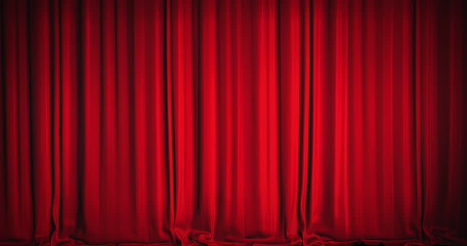 A Red Velvet Curtain Opening With Spotlights In A Movie