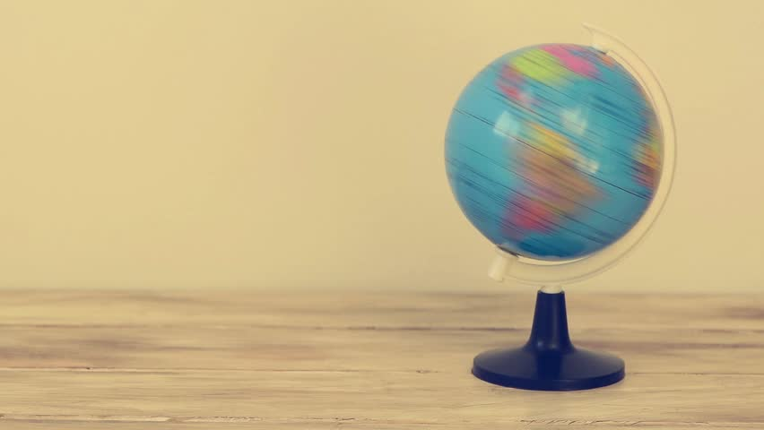 cinemagraph of a terrestrial globe rotating on its axis
