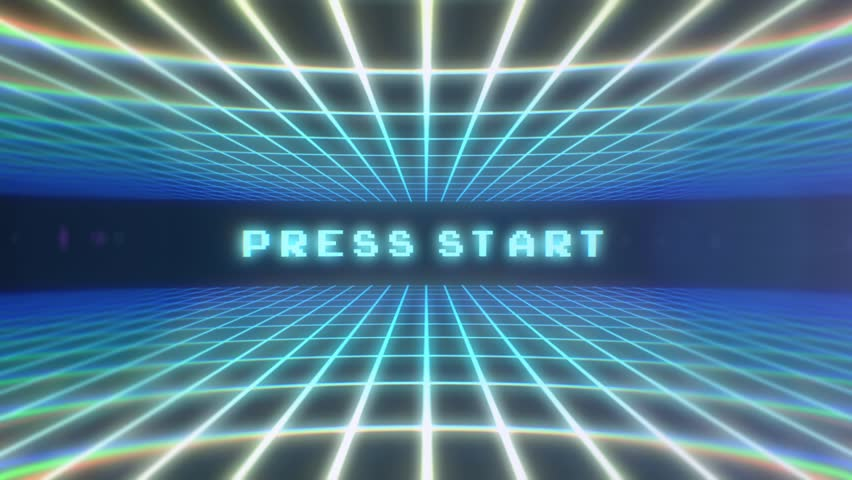 Retro Video Game background and Press Start Over look blue / Retro Video Game Press Start / A retro video game Background and press start text in VHS look and blue color