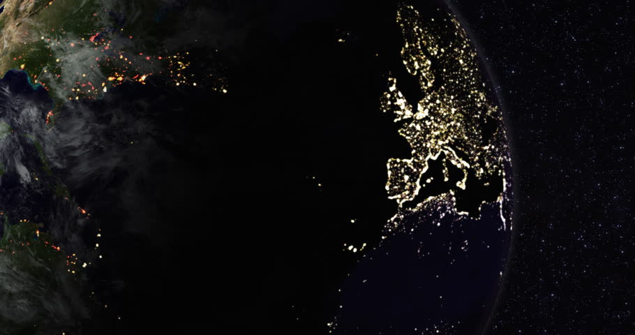Loopable: Planet Earth rotates in space against star background. Northern hemisphere night lights. (av22843c)