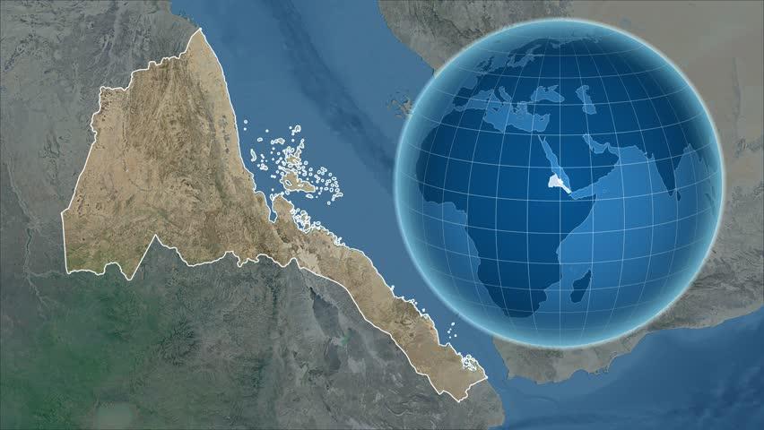Eritrea Shape Animated On The Physical Map Of The Globe Stock