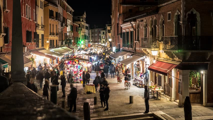TIME LAPSE: Night view of local market with people in Cannaregio. Venice, Italy.  | Shutterstock HD Video #14489251