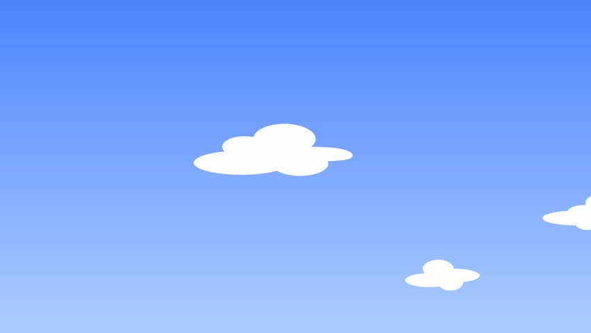 A White Cartoons Clouds On Blue Sky, 1920*1080 Animation