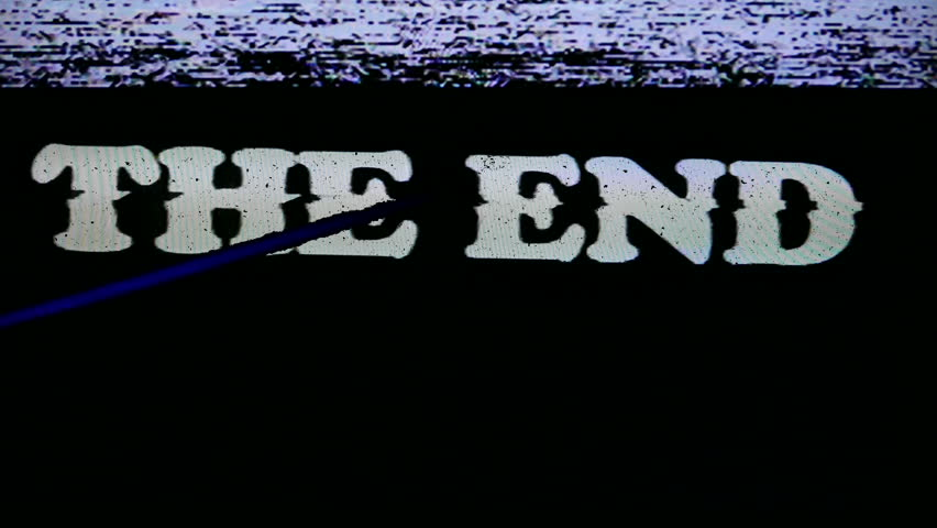 VHS Tape The End Title. Vintage The End in text titles. Classic videotape noise and static. All original elements manipulated on analog tape, captured with a 4K camera and assembled in Adobe Premiere.