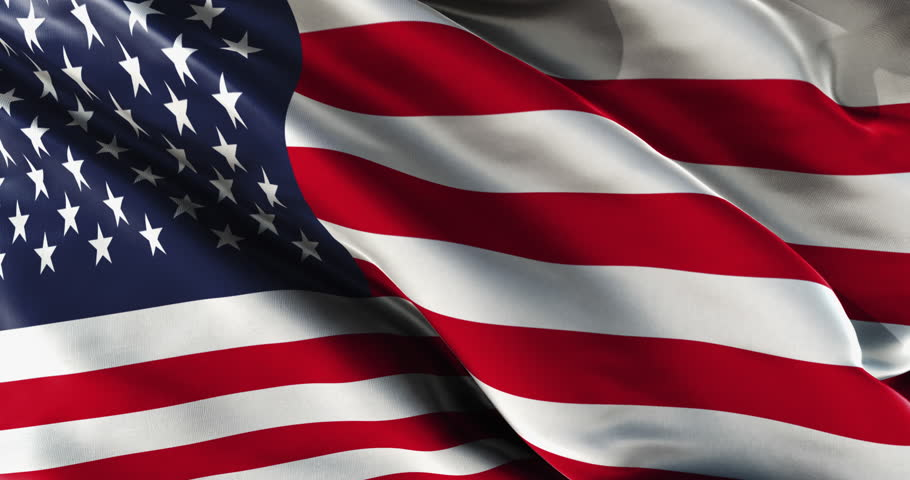 american flag waving with a strong wind stock footage