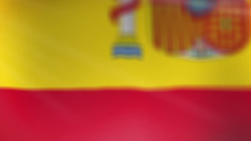Close Up Flag of Spain. An animated Spanish Flag close up waving with light and flares. Camera moves slowly with sharpness relocation. The capital is Madrid.