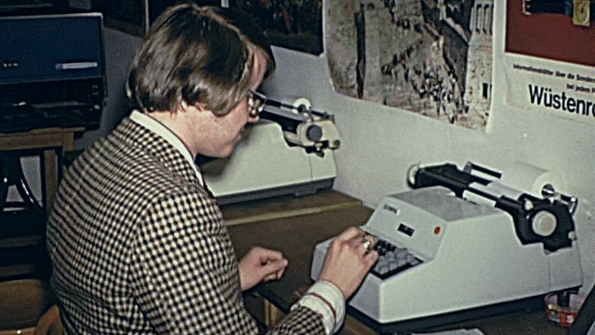 AUSTRIA - 1970: young man at the typewriter