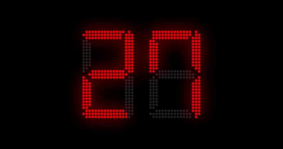 Sports shot clock countdown from 27 to 0. (av23153c)