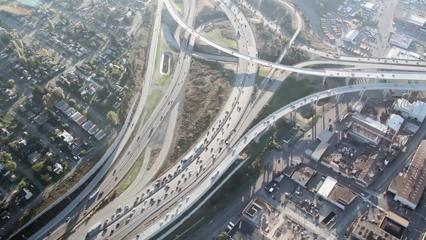 Airplane view of two intersecting highways near Tacoma, WA