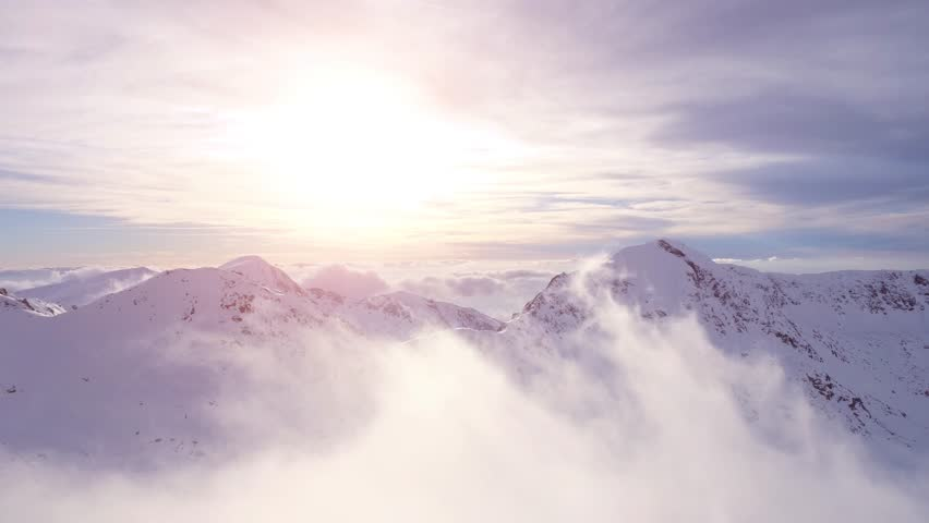 Aerial Drone Flight Over Mountain Range Through Clouds At Sunset Morning Mist Sun Light Flare Sunrise Beauty Inspiration Religion Worship God'S View Concept UHD 4K | Shutterstock Video #15072040