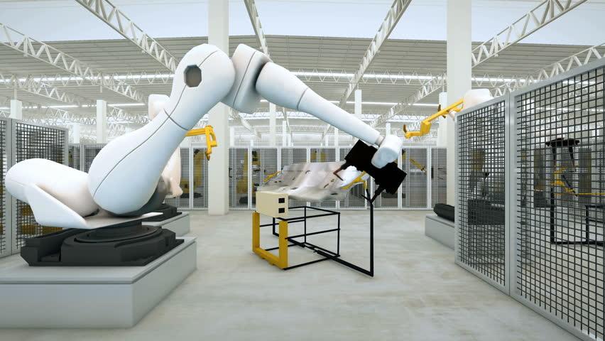 Industrial Robot arm active in factory. Automation welding mechanical procedure  | Shutterstock HD Video #15151900